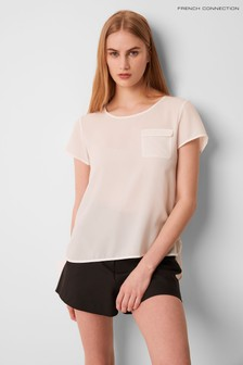 French Connection White Classic Crepe Light Packet T-Shirt