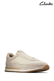 Clarks White Combi CraftRun Lace Trainers