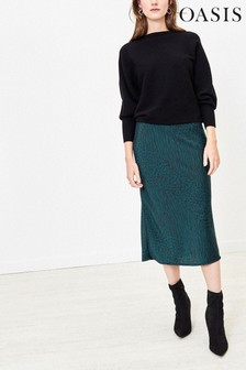 Oasis Green Mixed Animal Midi Skirt