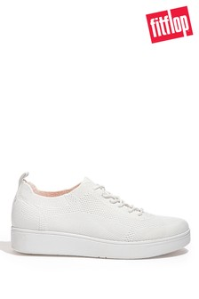 FitFlop White Rally Tonal-Knit Trainers