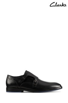 Clarks Black Combi Citistride Monk Shoes