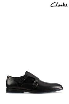 Clarks Black Combi Citistride Monk Shoes