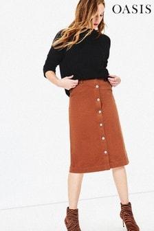 Oasis Brown Button Cord Midi Skirt