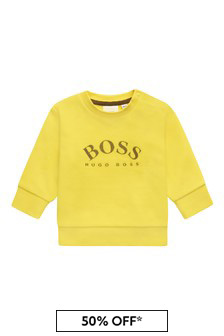 Boss Kidswear BOSS Baby Boys Yellow Cotton Sweat Top