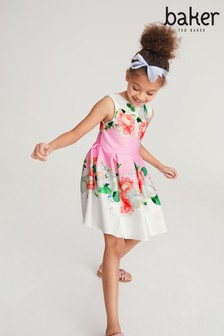 Baker by Ted Baker Pink/White Floral Placement Dress