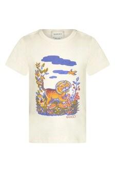 Baby Boys White Cotton Lion Print T-Shirt