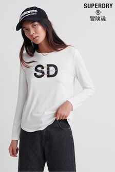 Superdry Sparkle Long Sleeve Graphic Top