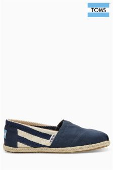 Toms Navy Stripe University Espadrille Pump