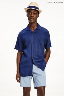 Tommy Hilfiger Blue Linen Short Sleeve Shirt