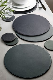 4 Pack Teal Round Reversible Faux Leather Placemats And Coaster Set