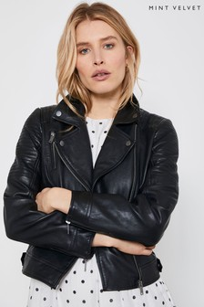 Mint Velvet Black Stitched Leather Jacket