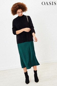 Oasis Green Satin Midi Skirt