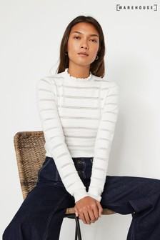 Warehouse White Ruffle Detail Stitch Jumper