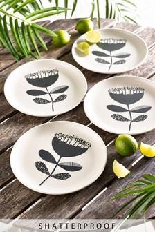 Wood Effect Set of 4 Side Plates