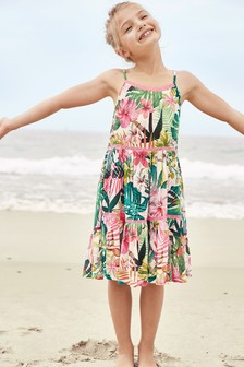 Palm Print Tiered Dress
