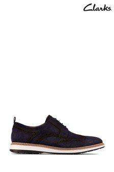 Clarks Navy Suede Chantry Wing Shoes