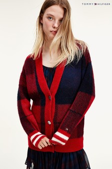 Tommy Hilfiger Red Icon Check Cardi Sweater
