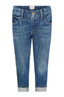 GUCCI Kids Boys Blue Denim Turn-Up Jeans With Webbing