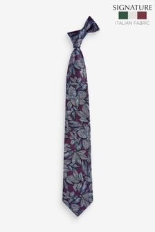 Фирменный шелковый галстук с принтом листьев Made In Italy