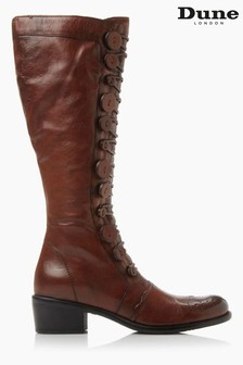 Dune London Pixie D Tan Button Detail Leather Knee High Boots