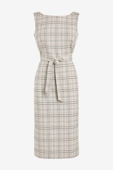 Linen Blend Belted Dress