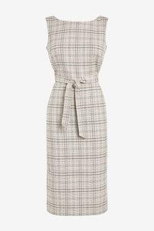 Linen Blend Belted Dress