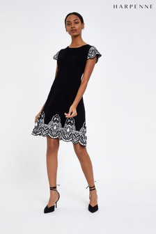 Harpenne Black Knit Baroque Skater Dress