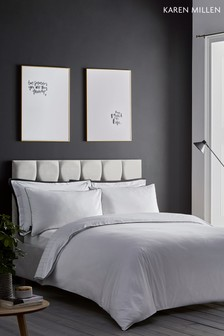 Karen Millen Herringbone Cotton Duvet Cover and Pillowcase Set