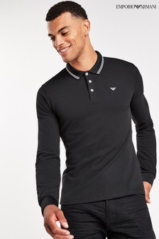 Emporio Armani Long Sleeve Tipped Polo Shirt