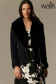 Wallis Faux Suede Biker Jacket