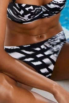 Mint Velvet Black/White High Leg Bikini Briefs