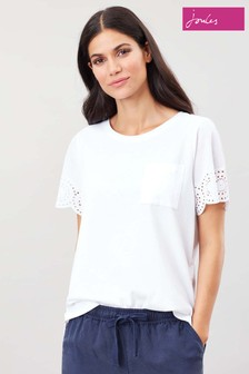 Joules White Arlo Broderie Sleeve Jersey Top