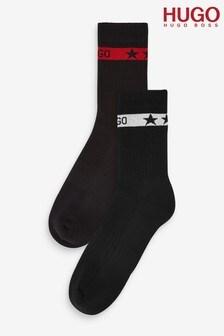 HUGO Black Ribbed Logo Socks Two Pack