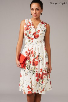 Phase Eight White Sofia Floral Cotton Dress