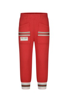 Girls Red Cotton Joggers