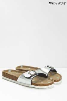 White Stuff Silver Single Strap Printed Footbed Sandals