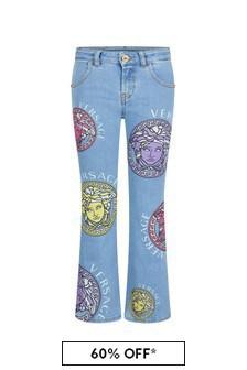 Versace Girls Blue Cotton Jeans
