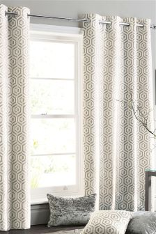 Opulent Geo Jacquard Collection Luxe Eyelet Curtains