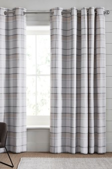 Versatile Natural Check Eyelet Curtains