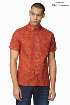 Ben Sherman® Burnt Red Short Sleeve Linen Mix Striped Shirt