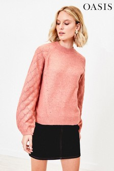 Oasis Pink Perry Pointelle Jumper