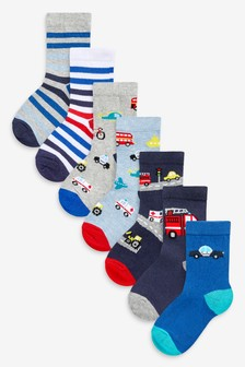 7 Pack Cotton Rich Transport Socks (Younger)