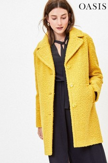 Oasis Yellow Bouclé Teddy Coat
