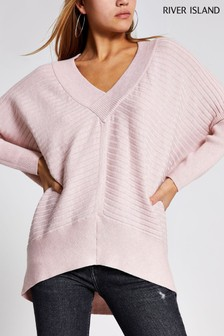 River Island Pink Light Belle V-Neck Jumper