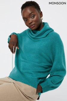 Monsoon Green Mika Cowl Jumper
