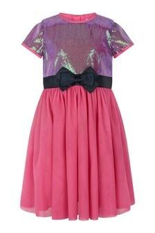 Girls Multicoloured Sequin Tulle Dress
