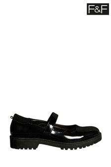 F&F Black Velcro Patent Mary-Jane Shoes
