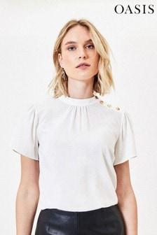 Oasis White Button Shoulder T-Shirt