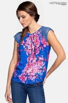 HotSquash Blue Chiffon Top With Lace Sleeve
