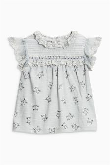 Cat Lace Short Sleeve Blouse (3mths-6yrs)